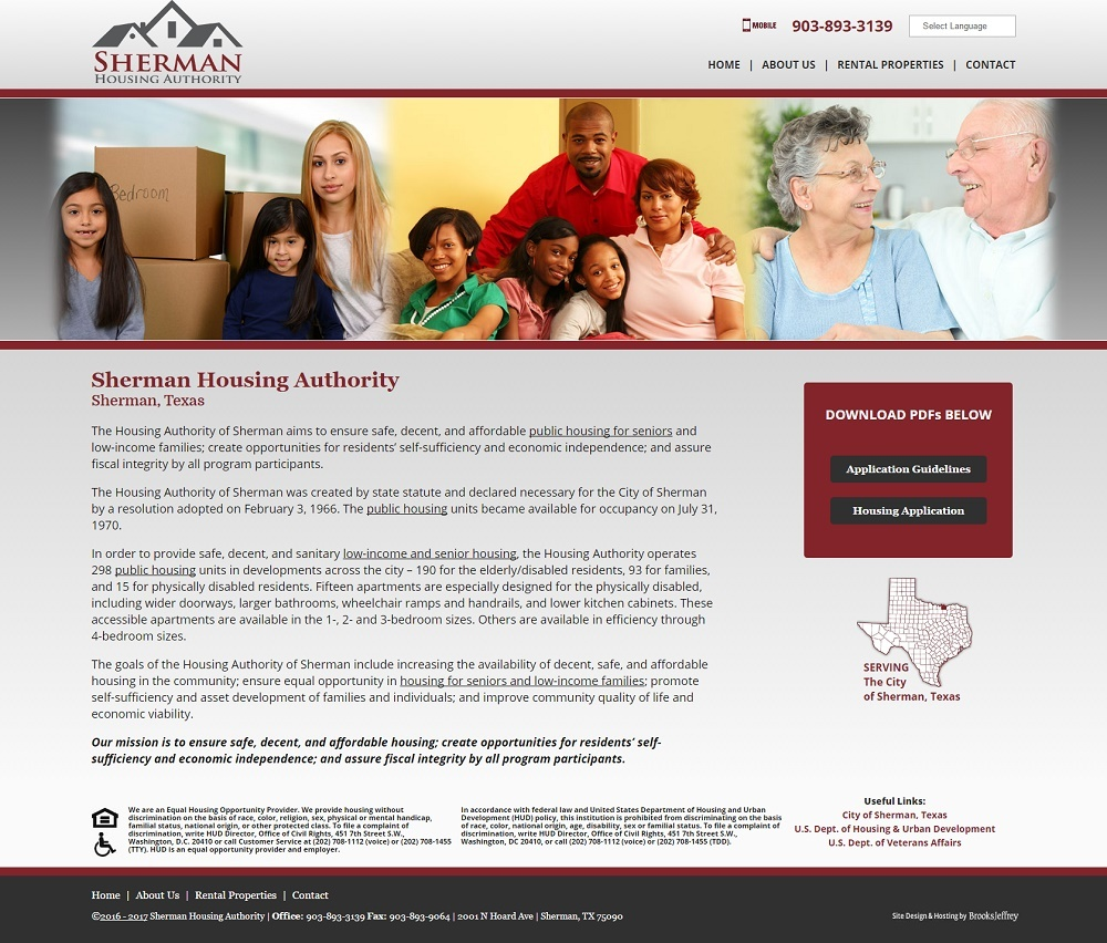 Sherman Housing Authority - Website, Mobile Site