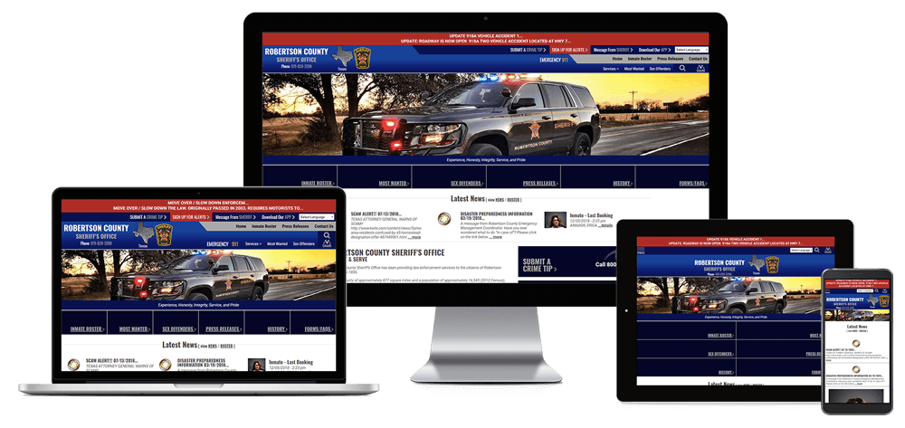 Robertson County Sheriff's Office, Texas - Responsive Website