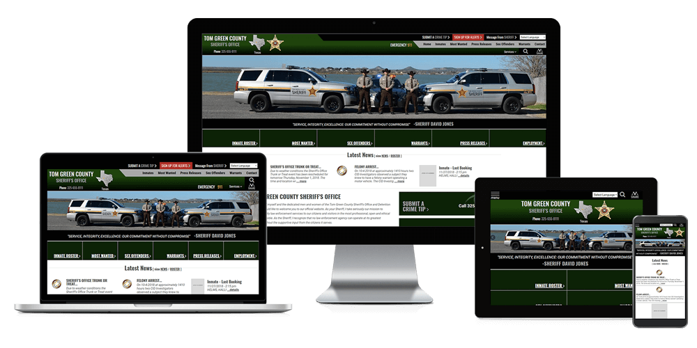 Tom Green County Sheriff's Office, Texas - Responsive Website