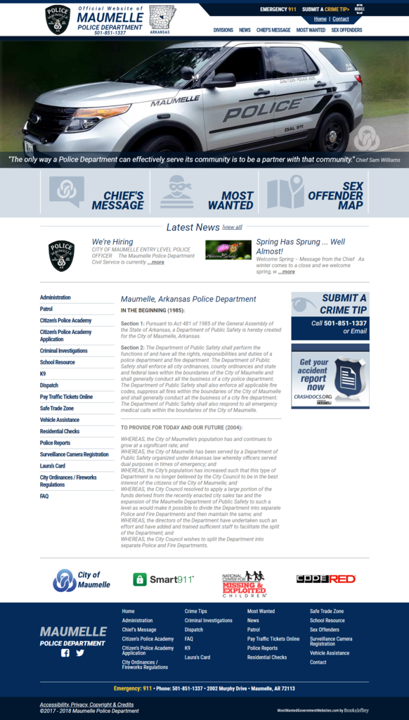 Maumelle Police Department, Arkansas - Website