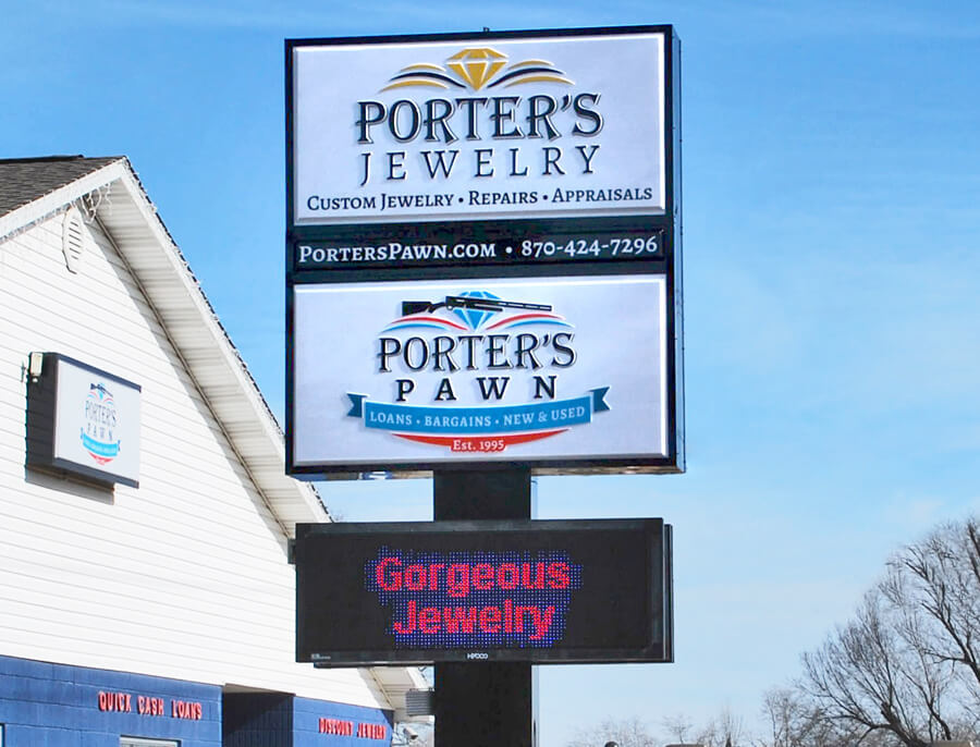 Porters Pawn & Jewelry - Premise sign with electronic reader board
