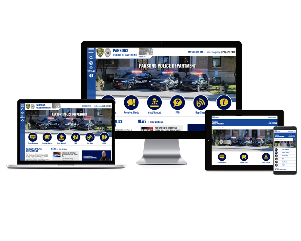 Parsons Police Department, Kansas - Responsive Website