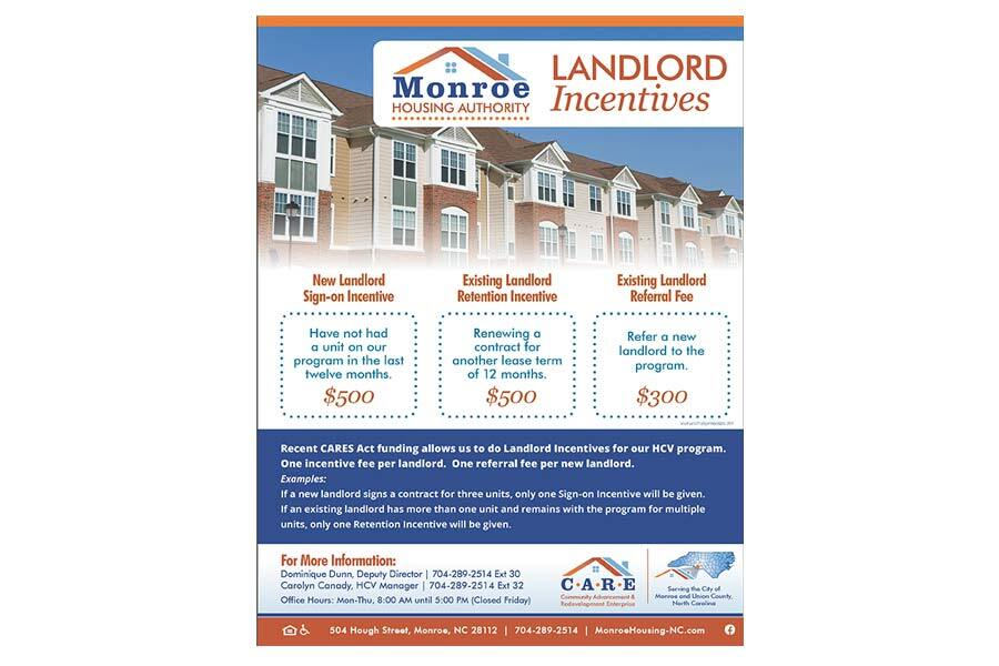 Monroe Housing Authority, North Carolina - Landlord Incentive Flyer - Print Materials