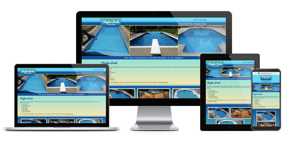 Clayton Pools - Responsive Website